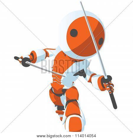 Toon Orange Robot Ninja Front Pose