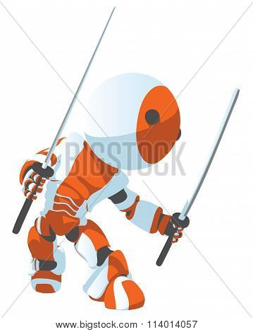 Toon Orange Robot Ninja Side Pose