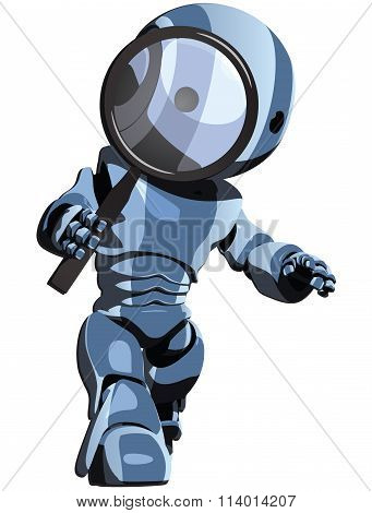Glossy Blue Robot Looking Through Magnifying Glass
