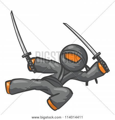 Orange Person Ninja Jumping With Swords