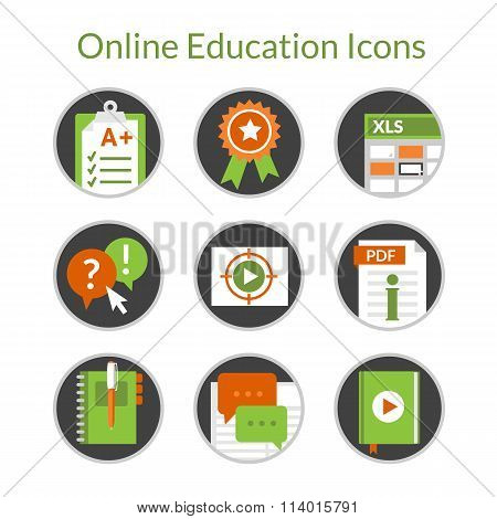 Online education or e-learning icons, video tutorials, distance courses.
