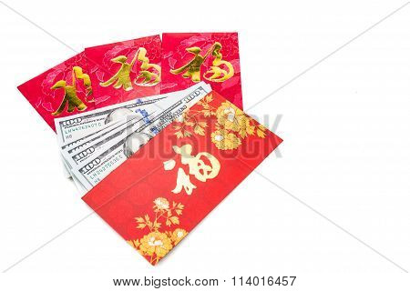 Red Packet With Good Fortune Chinese Character Contains Us Dollars