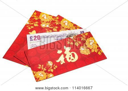 Red Packet With Good Fortune Character Contains Sterling Pound  Currency
