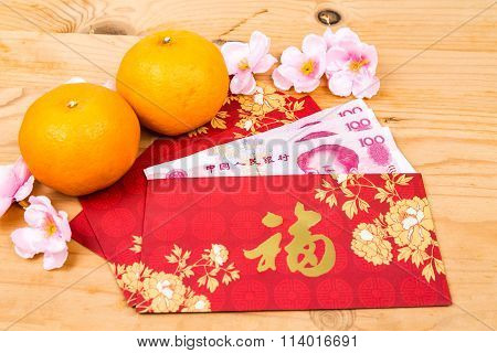 Red Packet With Good Fortune Character Contains China Renminbi Yuan
