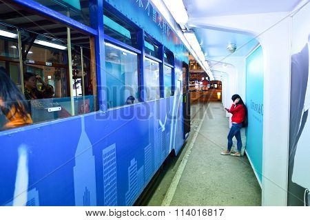 HONG KONG - DECEMBER 25, 2015: tramway in Hong Kong at night. Hong Kong is an autonomous territory on the southern coast of China at the Pearl River Estuary and the South China Sea.