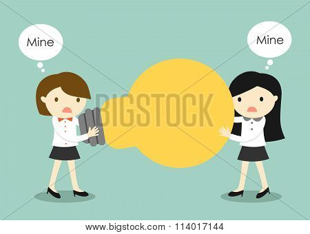 Business concept, Two business women are fight for an idea. Vector illustration.