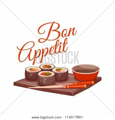 Sushi with sauce and chopstick on plate. Bon appetit. Vector illustration