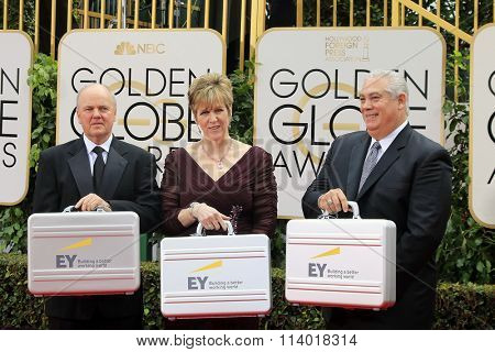 BEVERLY HILLS, CA - JANUARY 10: Representatives of Ernst & Young with winning results at the 73rd Annual Golden Globe Awards at the Beverly Hilton Hotel on January 10, 2016 in Beverly Hills, CA