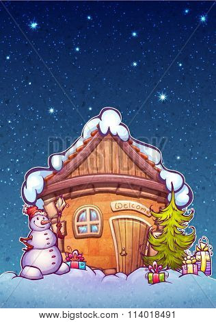 Vector illustration of winter night cartoon home with snowman and firtree