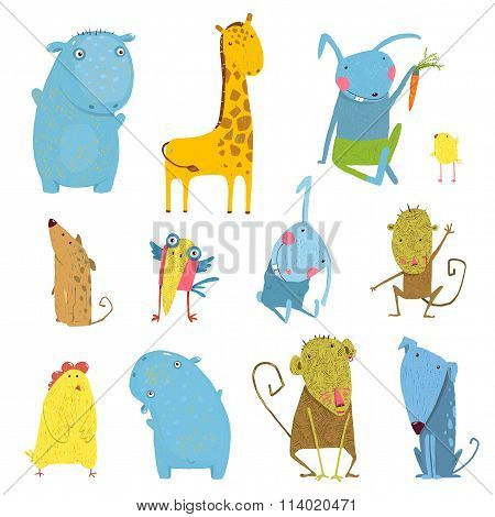 Set of Animals Cartoon Illustration