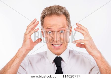 Aged Furious Businessman In Rage