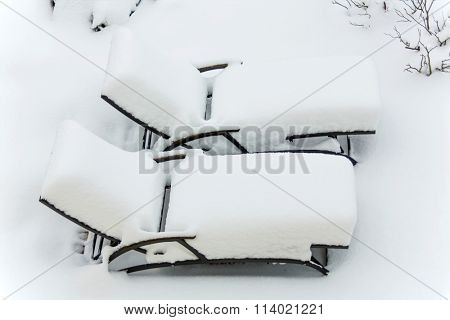 snowy garden furniture