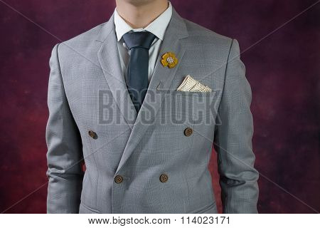 Grey Suit Plaid Texture, Double Breasted