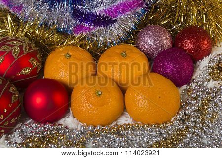 Tangerines And Christmas Balls