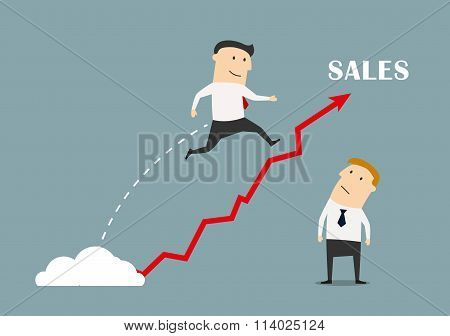 Businessman jumping up to success