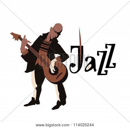 Man playng guitar. Street musicans. Guitarist. Jazz inscription. Vector illustration.