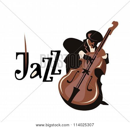 Contrabass player. Flat vector illustration.