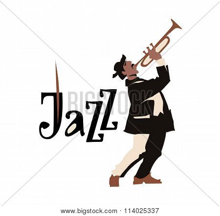 Man playng trumpet. Jazz inscription. Vector illustration.