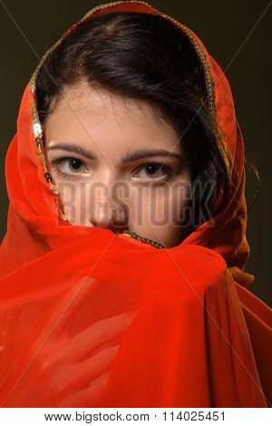 Girl In Red Hijab