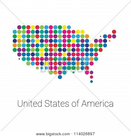 USA Map vector colored dotted design