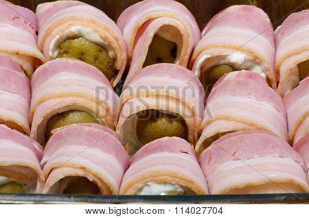Potato In Bacon Close Up