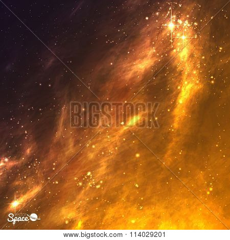 Golden galaxy background. Space nebula. Vector illustration.