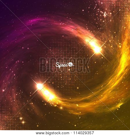Shining meteors or comets with tails on colorful cosmic background with copyspace. Vector illustrati