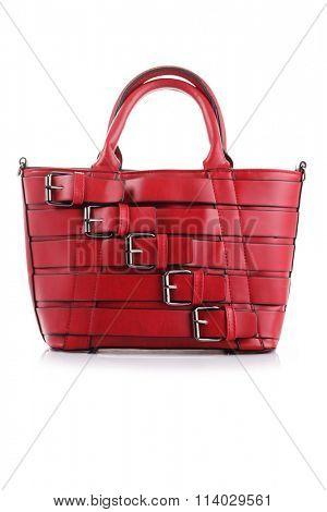 lovely red handbag on white background