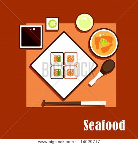 Seafood dishes and sauce of asian cuisine