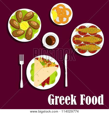 Traditional greek cuisine dinner flat icon