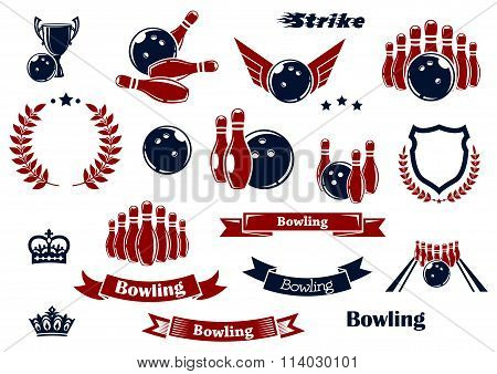 Bowling sport items and design elements