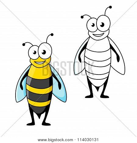 Smiling cartoon black and yellow striped wasp