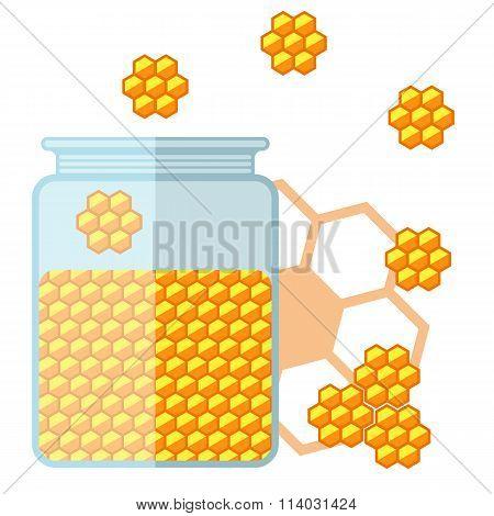 Flat Jar Of Honey. Bank With Honey.