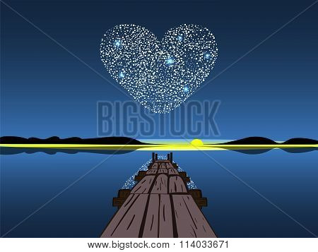 Diamond heart on a night lake