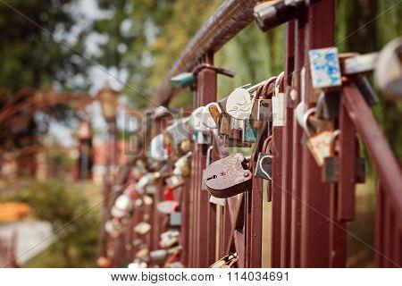 Beautiful White Heart-shaped Padlock Locked On Iron Chain, Romance Concept.
