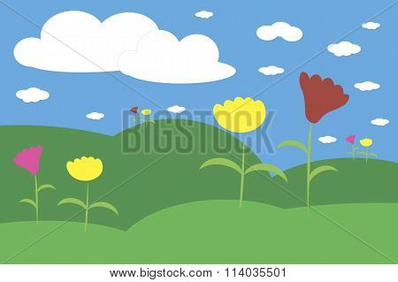 Landscape with green hills, meadow, blue sky, white clouds, flowers
