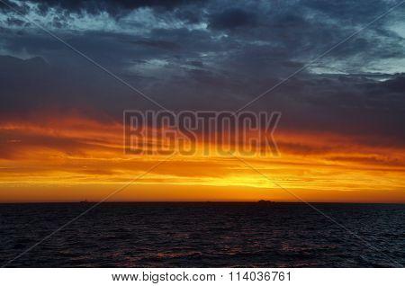 Orange Sunset over Indian Ocean