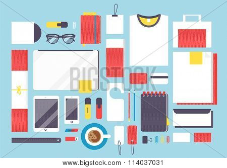 Flat style mockup design template. Mockup template vector illustration. Flat mockup design elements. Identity template design mockup vector. Mockup for design. Mockup template design elements vector