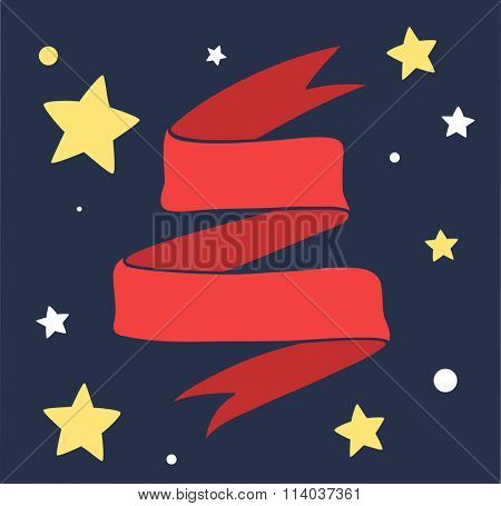 Red Ribbon vector art illustration. Red ribbon vector art design element. Red ribbon and stars on dark background hand drawn illustration. Vector red ribbon