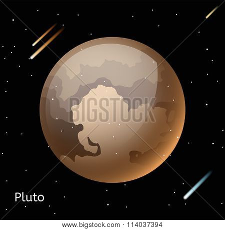 Pluto planet 3d vector illustration. Globe Pluto texture map. Globe vector Pluto view from space. Pluto illustration. Vector Pluto planet. Pluto planet silhouette, world map, 3d Pluto