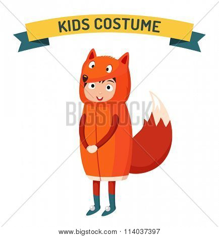 Fox kid costume isolated vector illustration. Kids party costume vector isolated. Children party costume. Kids costume