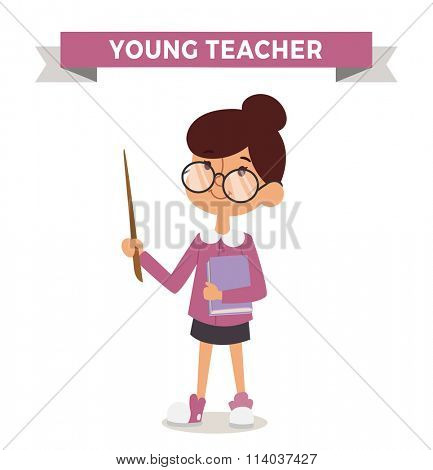 Teacher girl with book isolated on white. Cute cartoon vector profession teacher kid with book. Teacher girl funny cartoon kid. Profession teacher children vector. Profession teacher girl