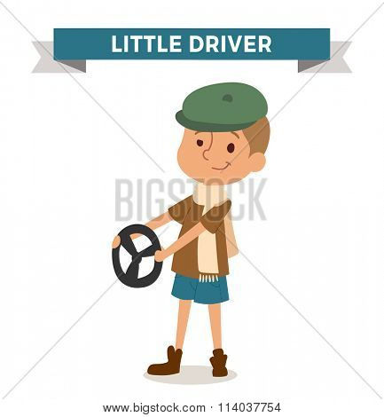 Driver boy with car rude isolated on white. Cute cartoon vector profession driver kid with ruder. Driver funny cartoon kid. Profession driver children vector. Profession driver boy