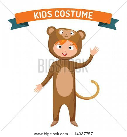Monkey kid costume isolated vector illustration. Kids party costume vector isolated. Children party costume. Kids costume