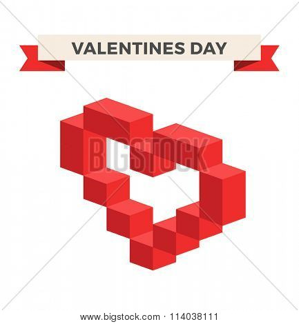 Heart vector 3d isometric icon. Heart logo, heart shape. Togetherness concept. Together logo. Heart logo. Heart icon. Love, health doctor and wedding symbol. Valentine Day icon