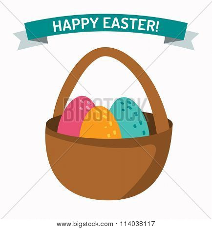 Basket with easter eggs isolated on white background. Easter eggs in basket illustration, Easter eggs. Brown easter basket with eggs