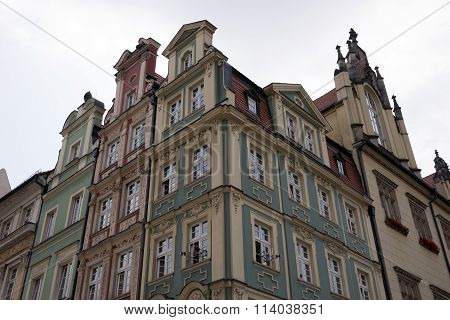 Facade of building on the old square in Wroclaw