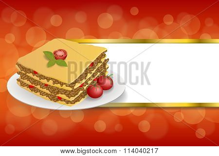 Abstract background lasagna food meat tomato yellow green red stripes gold frame illustration vector