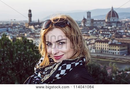 Beautiful Tourist Woman With View Of The City Florence From Piazzale Michelangelo, Italy