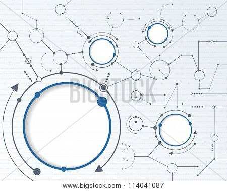 Abstract futuristic circuit board on light gray background hi-tech digital technology concept